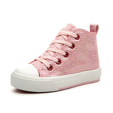 High Top Casual Sneakers for Girls Canvas Shoes 2016 Autumn Kids Sports Shoes Children Girls Shoes Pink/Silver