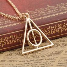 Popular Movie  Harry  Deathly Hallows Pendant Necklace Movie Trendy Jewelry Long Chain Triangle Necklace 3 Colors
