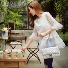 female shirt autumn new korean white lace embroidery fashion casual ruffle blouse women wholesale