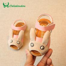 Claladoudou 12-14CM 0-3Y Girls Sandals Cartoon Black Cute Baby Sandals Genuine Leather Soft Toddler Shoes Baby Infant Shoes(China)