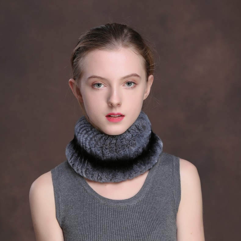 Winter Fur Headbands For Women Knitted Rex Rabbit Fur Scarf Hats Natural Fur Ring hairband Neckwarmer female (22)