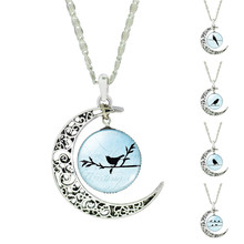 Retro Style  Silver Color Hollow Out Moon Shaped with Glass Cabochon Bird Pattern Pedant Necklace for Women Wedding