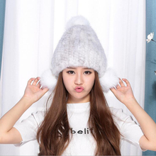 New Lovely 100% Real Mink Fur Hat For Women Winter Knitted Mink Fur Beanies Thick Cap Fox Fur Pom Poms