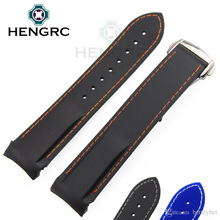 Watchbands 22mm Men Blue Black White Stitches Silicone Rubber Waterproof Watch Strap Band Curved End Bracelets Accessories
