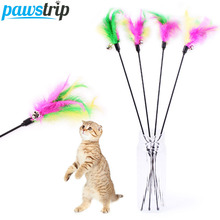 10pcs/lot Funny Pet Cat Toy Rod Faux Rabbit Feather Kitten Bell Toy Fun Playing Colorful Cat Stick Pet Products(China)