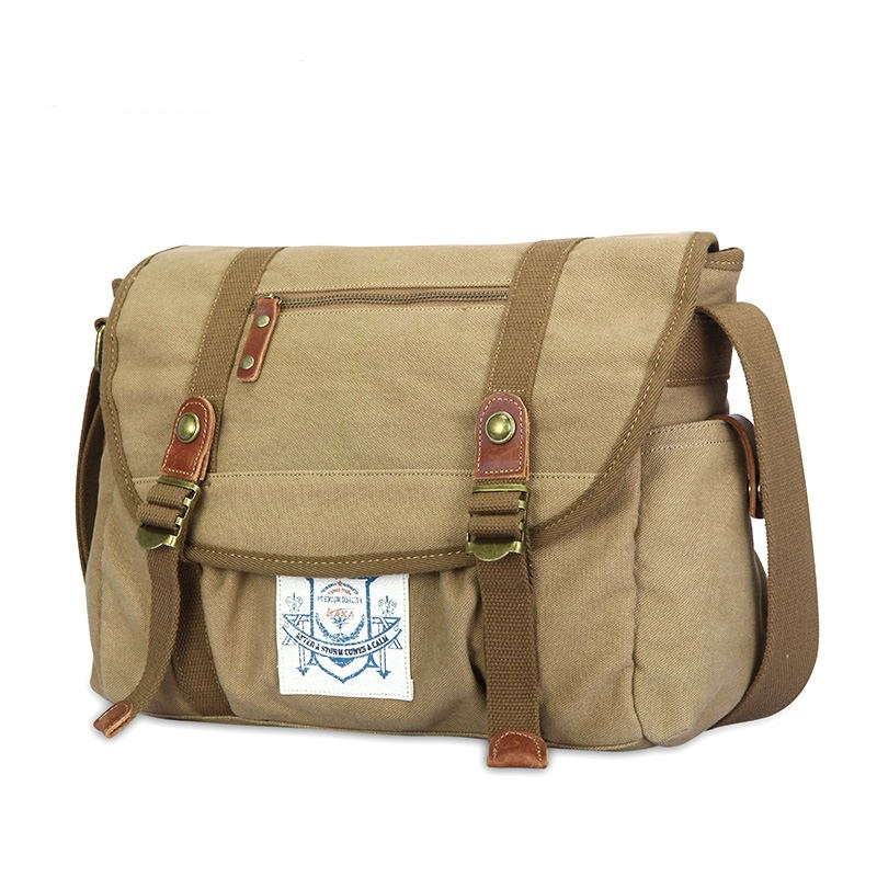 2016 Top grade new retro casual canvas messenger bag men shoulder bag with leather K813<br>