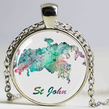 St John Map British Virgin Island Art Print Necklace(China)