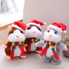 Christmas hamster will learn to say little mouse dolls plush toys, dolls record smart, creative gifts(China)