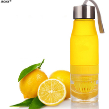 IRONX Water Bottle Frosted Leak-proof Plastic 650ml candy Color Lemon H2O Portable Sports For Outdoor Sport Running Camping MI5