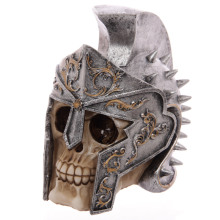 Free Shipping 1Piece Head Skull with Roman Gladiator Spiked Helmet Skeleton Halloween Decor Figurine
