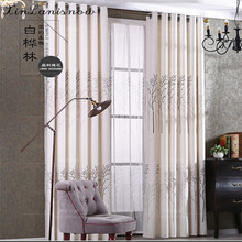 The Shading Cotton Birch Forest Pastoral India Curtains for Living Dining Room Bedroom(China)