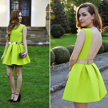 elegant dress free Shipping Neon skater dress 3S66635 young lady dress fashion