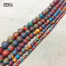 STENYA Round Natural Stone spacer loose beads India Bead multicolor lot 4mm 6mm 8mm 10mm 12mm Malachite Bead jewelry findings(China)