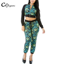 CUYIZAN 2017 Spring style Womens 2pcs Sets Casual Sweat Suits Floral Long Sleeve Zipper coat+Pants Tracksuits Lady Sportswear
