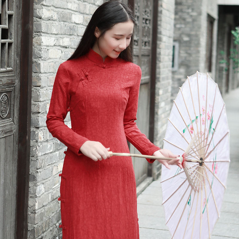 New Retro Cotton Linen Long Section Cheongsam Stand Collar Plate Buttons Women's Literature Art Models Dress