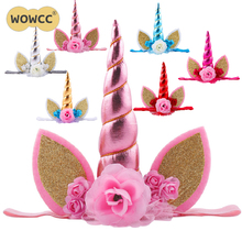 WOWCC Gold Glitter Unicorn Horn Headband Happy Birthday Party Decoration Fancy Flower Unicorn Birthday Party Hats Kids Favors(China)