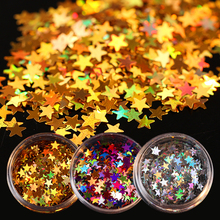 1 Box Laser Star Sparkle Nail Sequins Paillette Colorful Gold Silver Nail Tips Manicure Nail Art Decorations