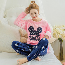 Women's Pajamas Autumn & Winter Flannel Pajamas Rabbit Women Long Sleeve Sleepwear Lovely Tops Pants Warm Pajamas Set(China)
