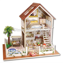 A025 DIY 1:12 3D Wooden Doll House Miniatura Furniture Wood Dollhouse Miniature large model house villa free shipping(China)