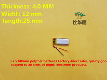 (free shipping)Polymer lithium ion battery 3.7 V, 401225 CE FCC ROHS MSDS quality certification
