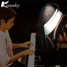 Konesky LED Reading Lamp Dual Arms 2 LEDs Flexible Book Sheet Music Stand Light Reading Light Student Dormitory Lights With Clip(China)