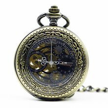 Mechanical Hand Wind Horse Pocket Watch Steampunk Roman Numbers Steel Fob Watches PJX1287(China)