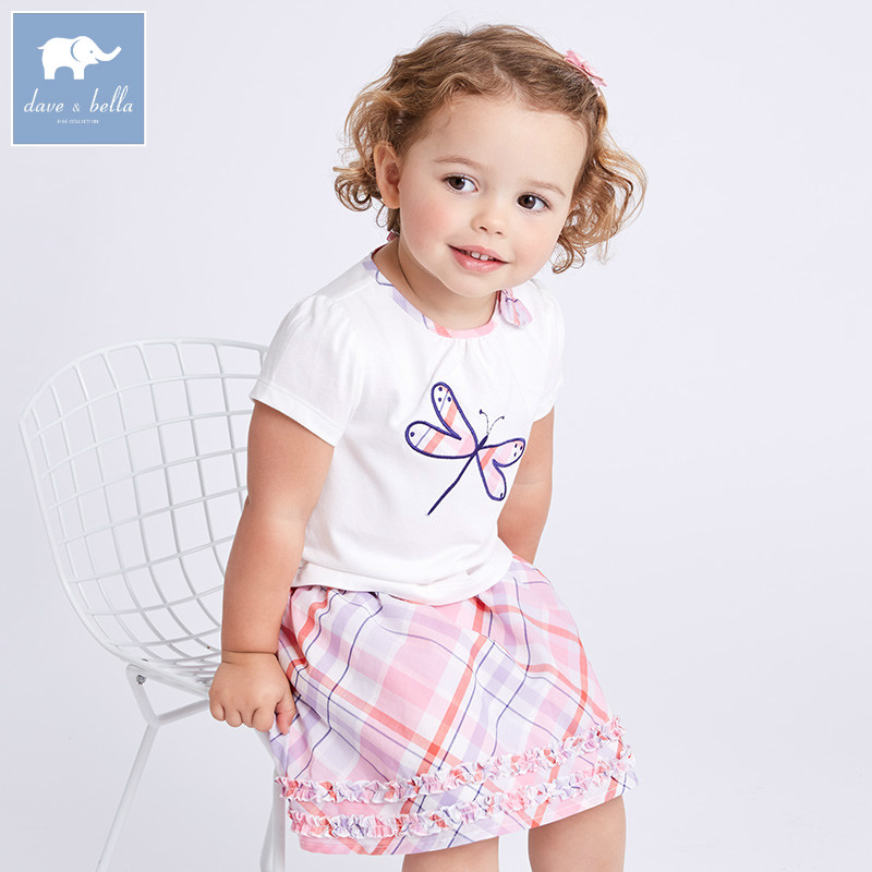 Dave bella summer baby clothing sets children tops+skirt 2pcs suits toddler infant outfit kids lovely clothes DBA6635