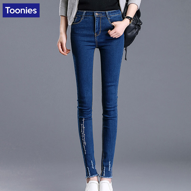 2017 New High Waist Women Jeans With Embroidery Slim Stretch Skinny Jeans Women Blue Denim Female Pencil Pants Ladies JeansОдежда и ак�е��уары<br><br><br>Aliexpress