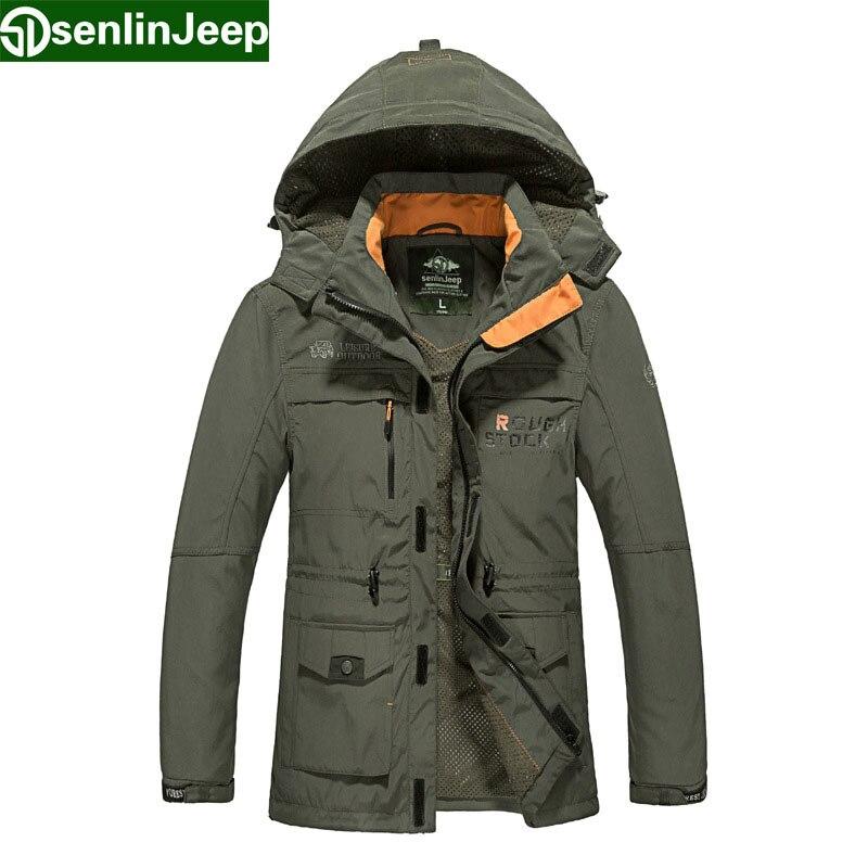 Senlin Jeep Brand Men's Classic Jacket Male Fashion Bomber Military Coats Men Waterproof Windproof Windbreaker Hood Jaqueta 6817