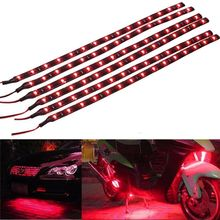 4PCS New Arrivals!!! Red 30CM 15 LED Car Motors Truck Flexible Strip Light Waterproof 12V Auto