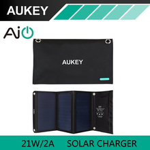 21W AUKEY Solar Charger with Dual USB Port Foldable, Portable Solar Panel for iPhone 6s 7 Plus, Android, Samsung, HTC, LG, Nexus(China)