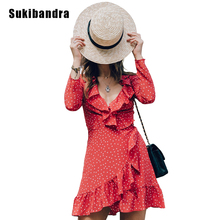 Buy Sukibandra Star Print Short Red Dot Retro Dress Women Vintage Ruffle Beach Wrap Summer Dress Star Girl Long Sleeve Lace Dress for $16.82 in AliExpress store