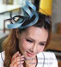 Free Shipping Fashion Ladies Fascinator Wedding Headpiece Hair Accessories Veil Cute Blue Color Sinamay Ribbon Women Fascinator(China)