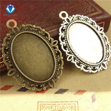 10pcs/lot Antique Silver/Antique Bronze Tone Oval filigree Frame Cameo Settings 18*25mm(China)