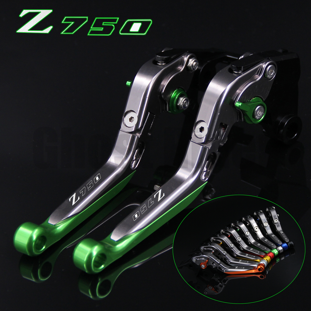 !Logo(Z750) Green+Titanium For Kawasaki Z750 (not Z750S model) 2007 2008 2009 2010 2011 2012 CNC Motorcycle Brake Clutch Levers <br>