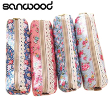 2015 Mini Flower Floral Lace Pencil Pen Case Cosmetic Makeup Make Up Bag Zipper Pouch Purse Hot 2015 6NQO