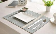 Eco-friendly Cotton Linen Placemat Dot Dining Table Mats Rugs with Lace Table Pad Coaster Korean Table Decoration Kitchen wares