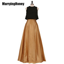 Satin Two Piece Evening Dresses Plus Size Wedding Party Guests Gowns Puff Top and Long Skirt Women Celebrity Pageant Prom Ball