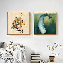 HAOCHU Impressionist Flower Animal Combination Blue Deep Sea Baby whales Canvas Painting Art Prints and Picture For Living Room