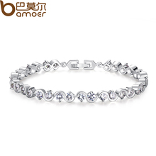 BAMOER  White Gold Color Created Stone Chain & Link Bracelet for Women Anniversary AAA Cubic Zircon Jewelry JIB049