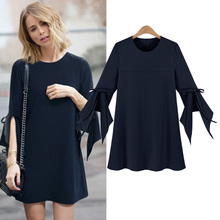 Autumn and winter new Europe and the United States loose large size round neck long - sleeved shirt size Women's clothing