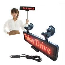 17inch RED LED Car display USB input rechargeable LED car sign LED Programmable Message Sign Pixel 16*96(China)