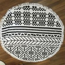 Summer style Round Beach Towel 100% Cotton Tassel Knitted 150*150cm beach swim towel hooded 1.2kgs Bohemia style black and white(China)
