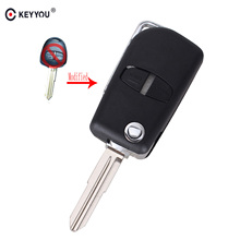 KEYYOU 10X 2 Buttons Modified Flip Folding Remote Key Shell Case For Mitsubishi Pajero Sport Outlander Grandis ASX(China)