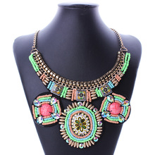 2017 Fashion Big Maxi Fake Collar Necklace Geometric Bohemian Necklace Beads Statement Necklace Women Gold Chain Jewelry