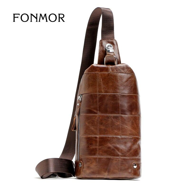 2017 New Vintage Leather Shoulder Bags Men Chest Bag Caterpillar Design Retro Cowhide Messenger Travel bag <br><br>Aliexpress
