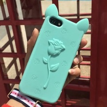 For iPhone 7 7P 6 6s Plus 5 5s SE High Quality 3D Rose Flower Cat Ears girl Cartoon soft silicone cell phone case cover shell