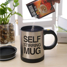 New Stylish 4 colors Stainless Steel Lazy Self Stirring Mug Auto Mixing Tea Milk Coffee Cup Office Gift Eco-Friendly Free shippi