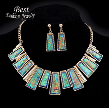 New Fashion Jewelry Set Green Rectangle With Colorful Pattern Series Link Gentle Lady's Necklace