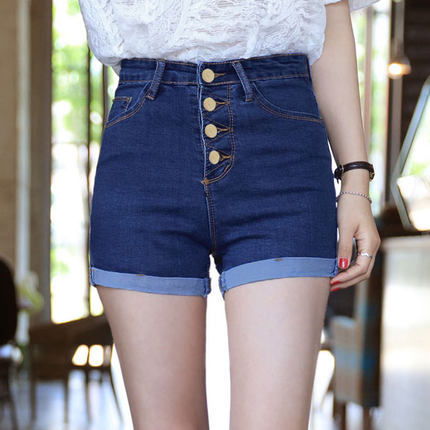 Womens High Waist Denim Shorts Jeans Ladys High Stretched Denim Short Jeans Buttons Denim shorts Plus Size Hots 118Одежда и ак�е��уары<br><br><br>Aliexpress